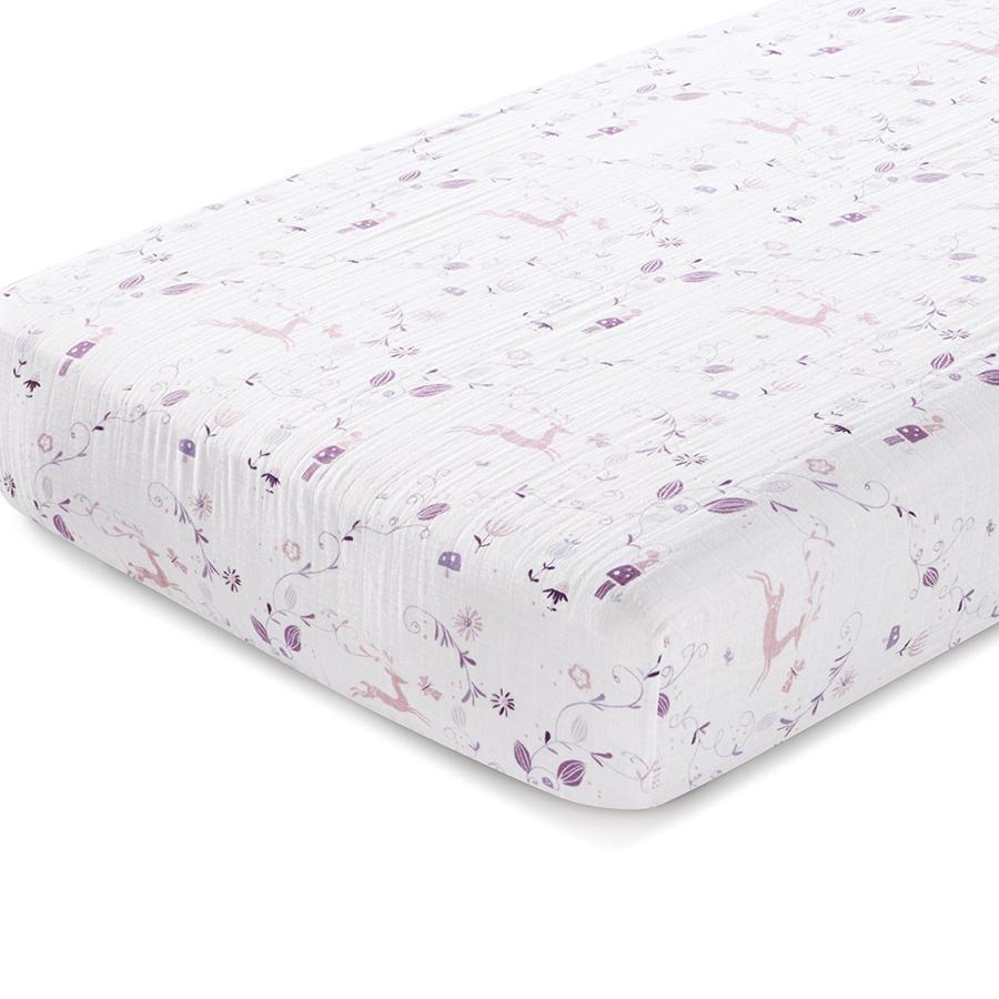 aden-anais-crib-sheet-organic-muslin-purple-pink-deer
